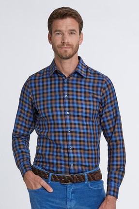 Hemington Erkek Lacivert Ekose Desen Klasik Yaka Spor Pamuk Gömlek