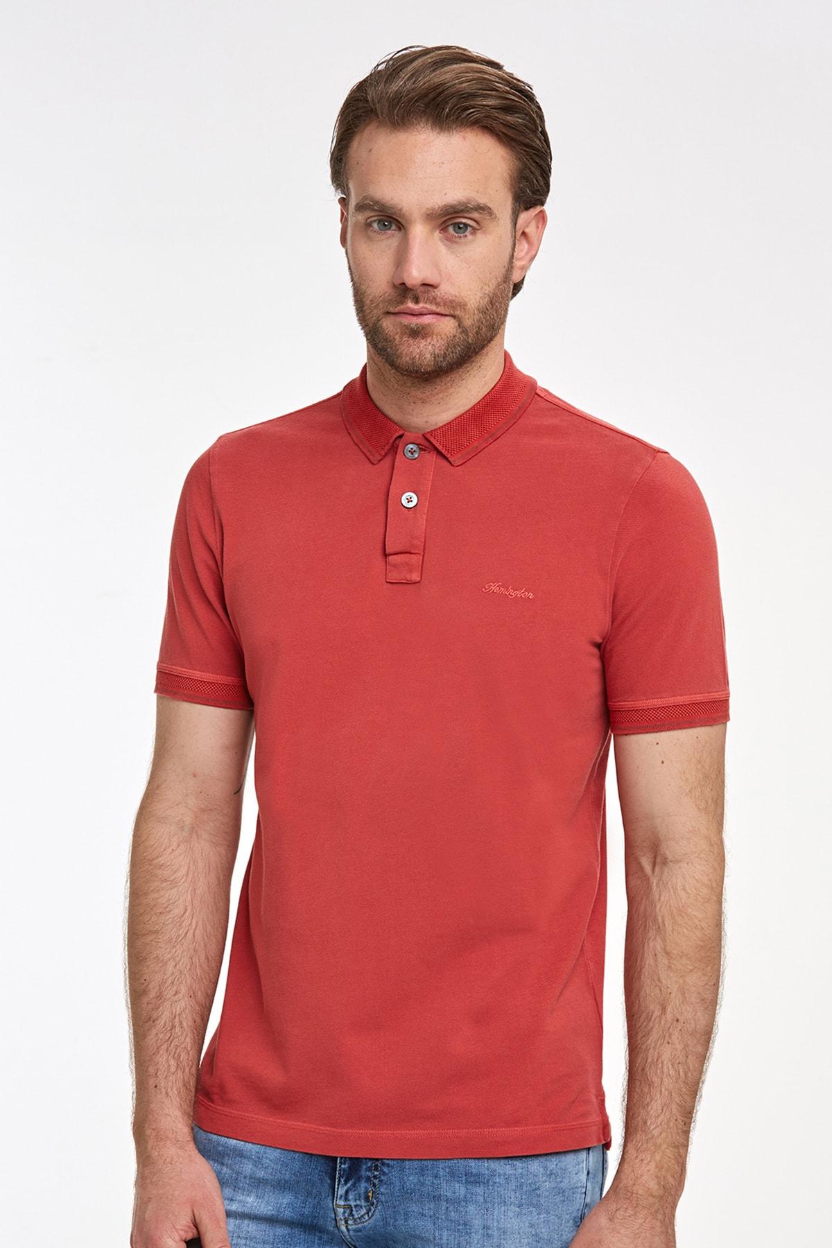 Hemington Erkek Vintage Görünümlü Kırmızı Polo Yaka T-shirt 1