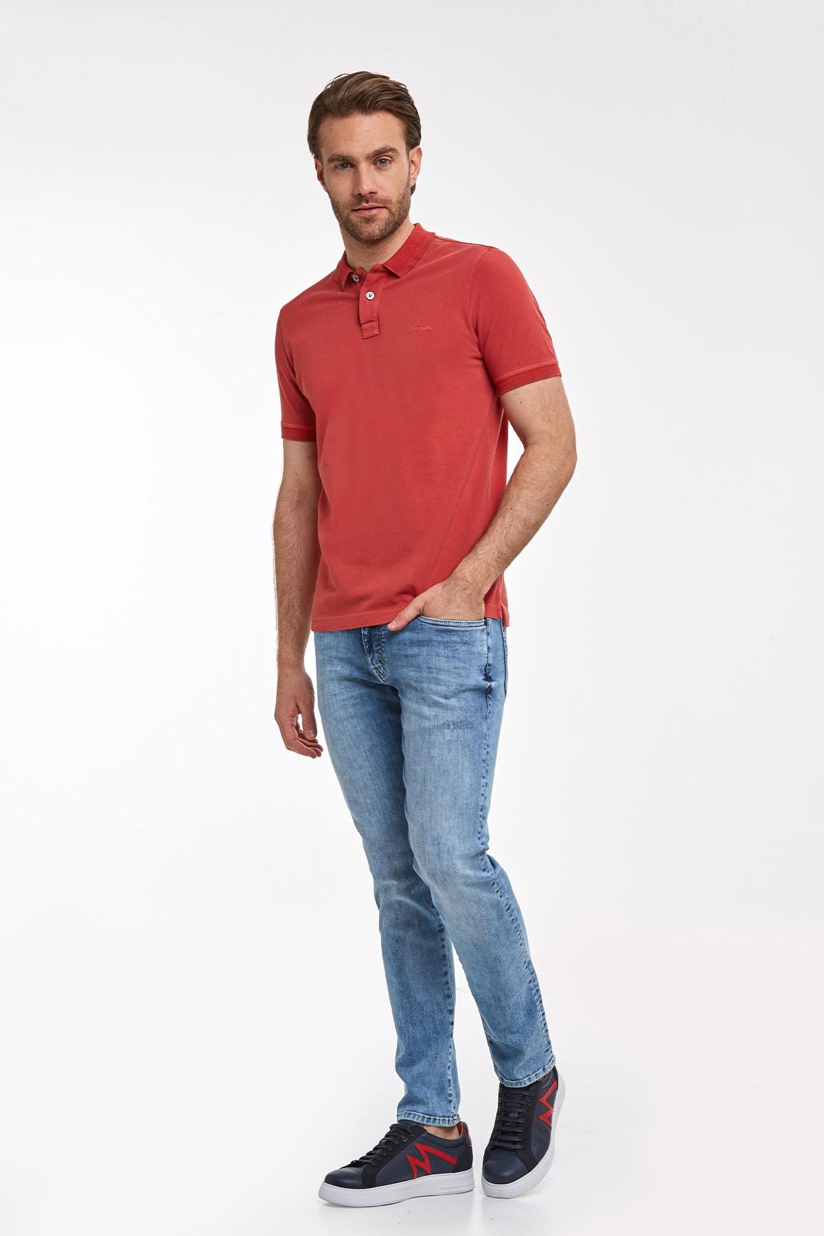 Hemington Erkek Vintage Görünümlü Kırmızı Polo Yaka T-shirt 2