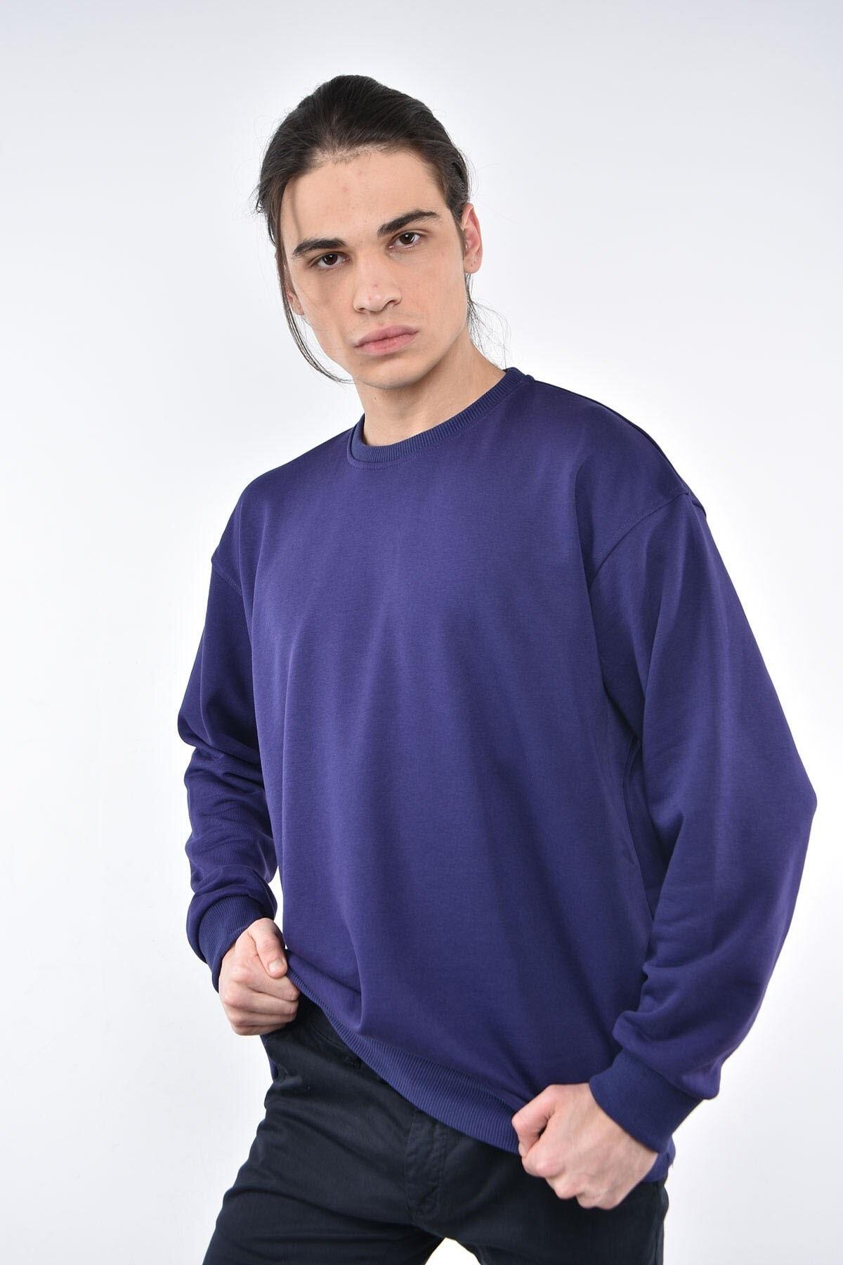 Liwali Erkek Mor Bisiklet Yaka Oversize Sweatshirt 1