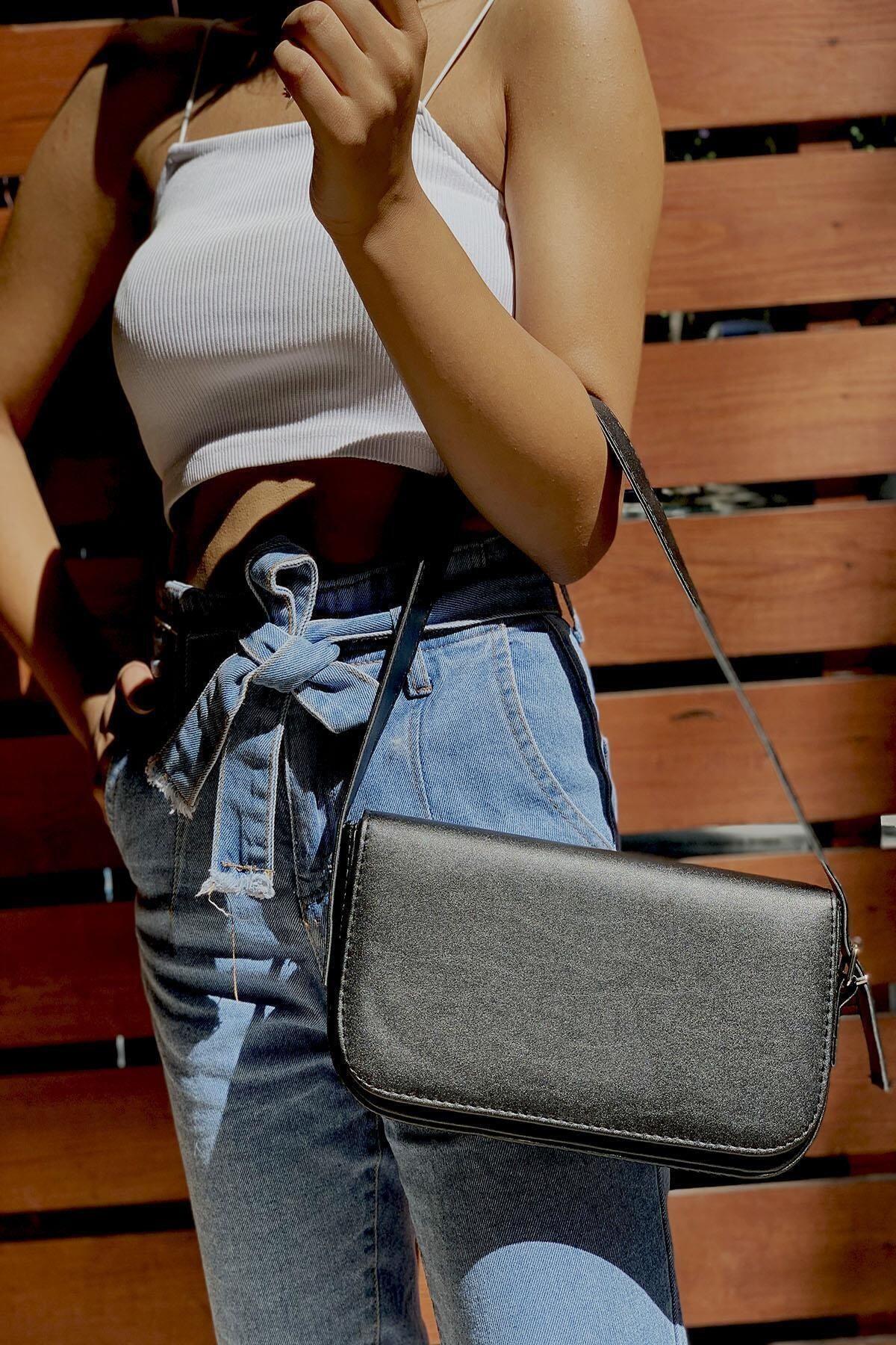 MEFA MARKET Kadın Siyah Baget Omuz Çanta 2