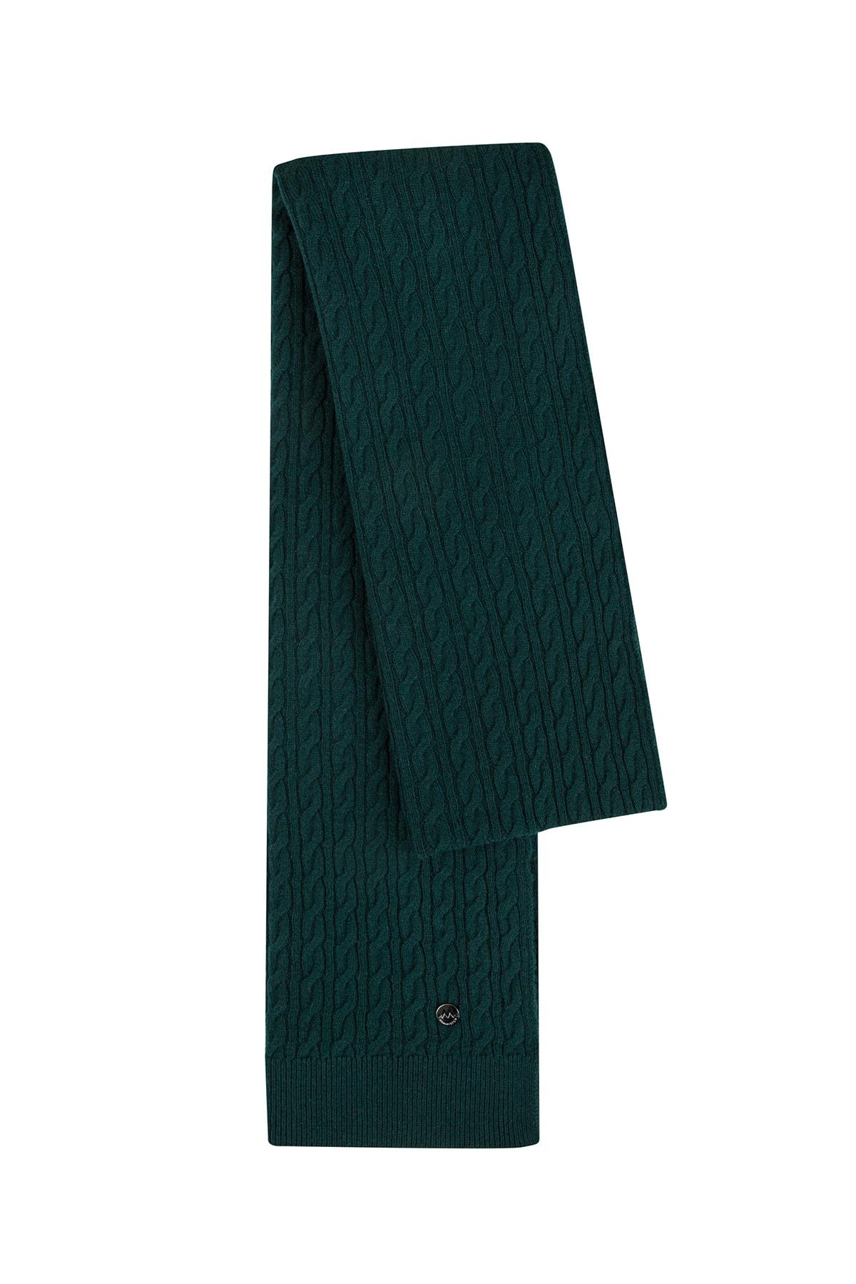 Hemington Lambswool Yün Koyu Yeşil Atkı 1