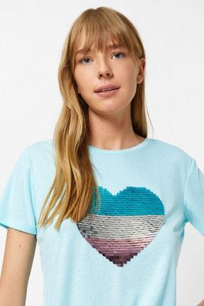 Koton Kadın Turkuaz T-Shirt 0YAK13787EK