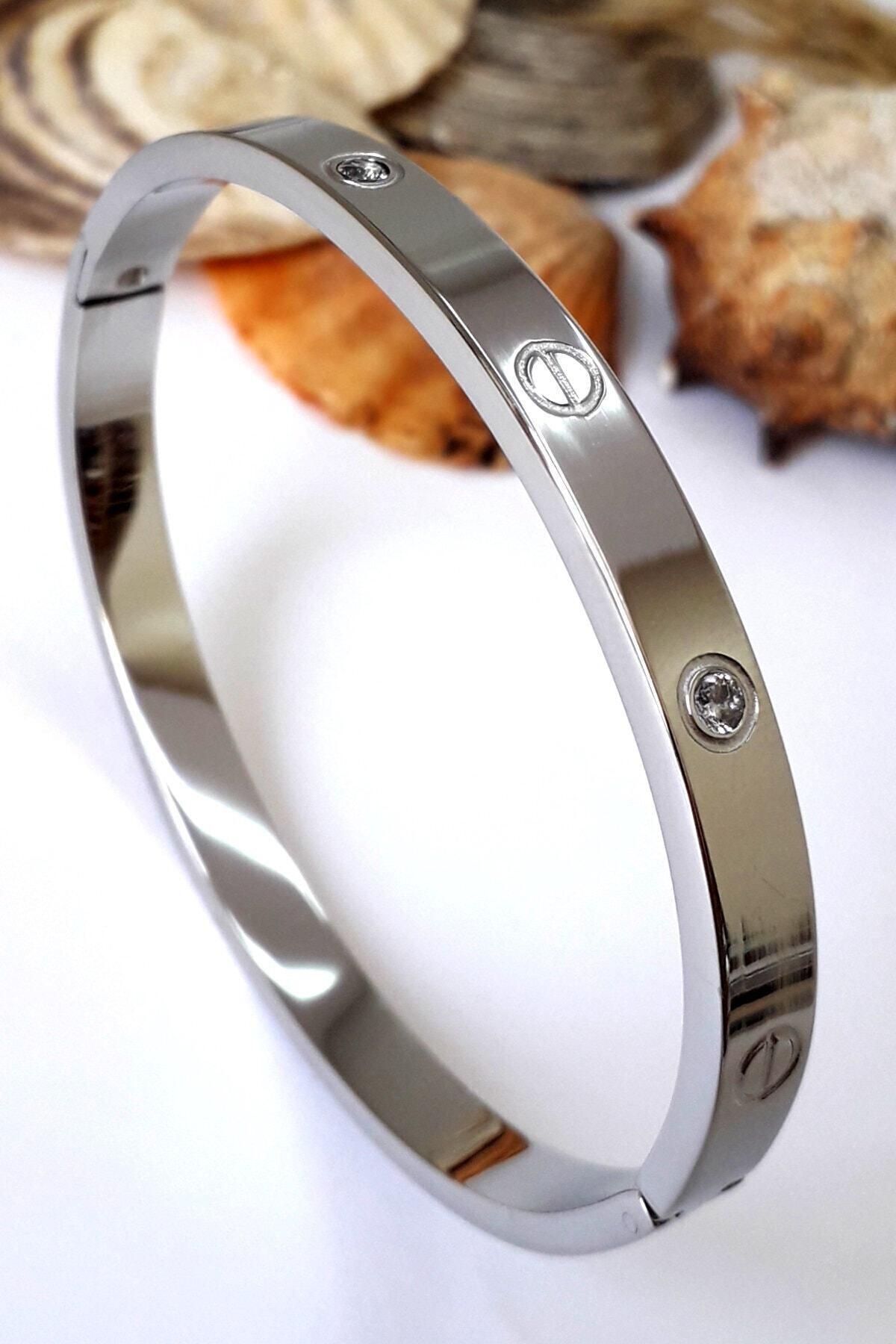 Bin1Gecem Takı Zirkon Taşlı Paslanmaz Çelik Cartier Bileklik Bilezik 18 cm 2
