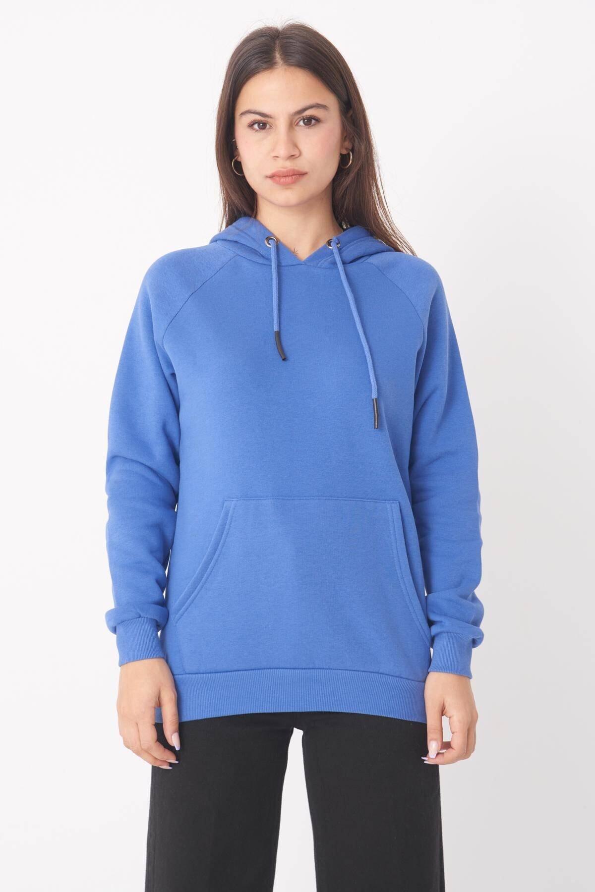 Addax Kadın mavi Cep Detaylı Sweat S7066-1 - B11 - B12 ADX-0000019965 1