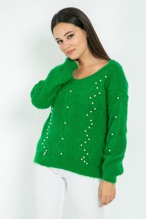 Sateen Kadın Yeşil Kayık Yaka Triko Kazak  9KTR220K163