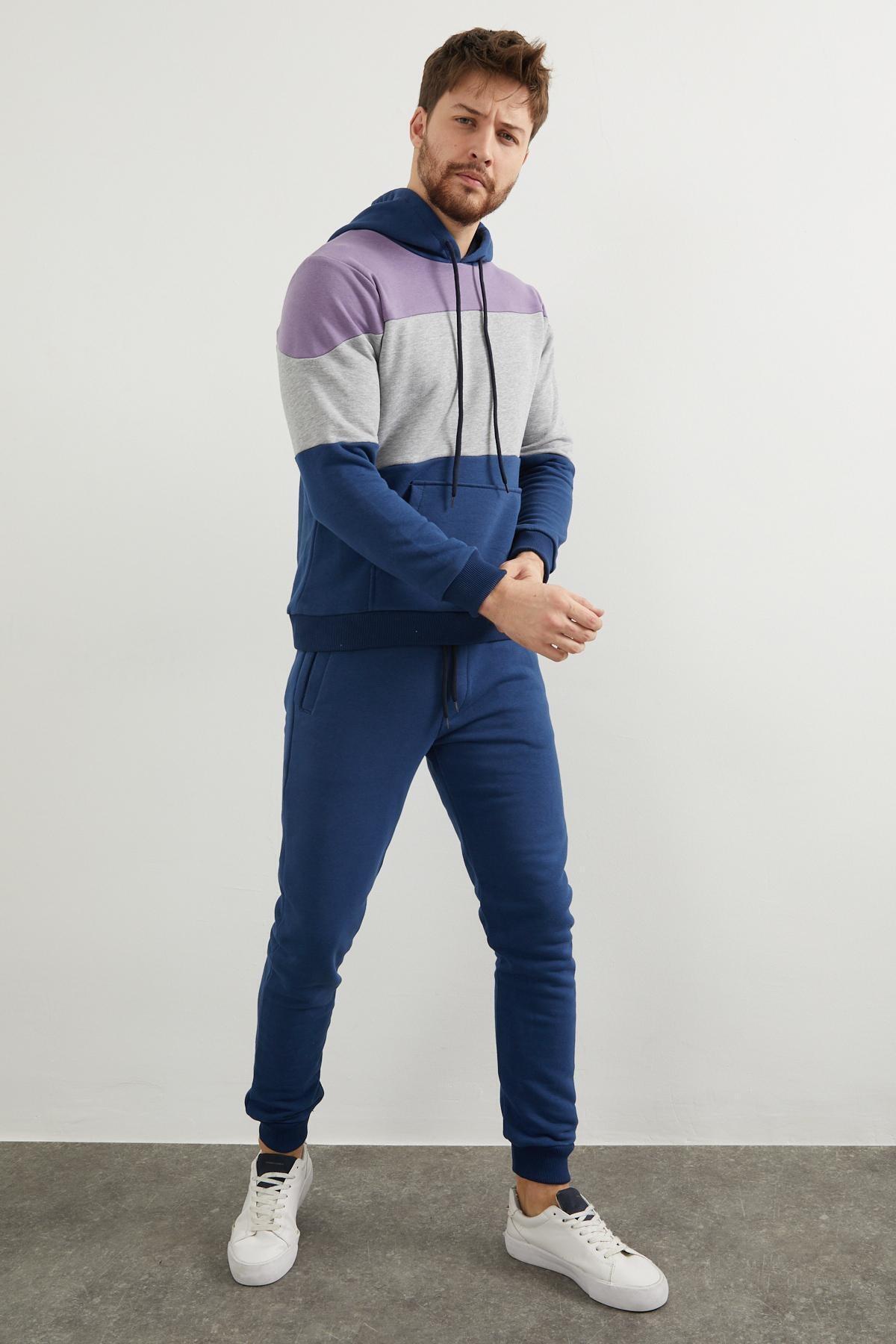 Enuygunenmoda Erkek Mavi Slim Fit Eşofman Takımı 1