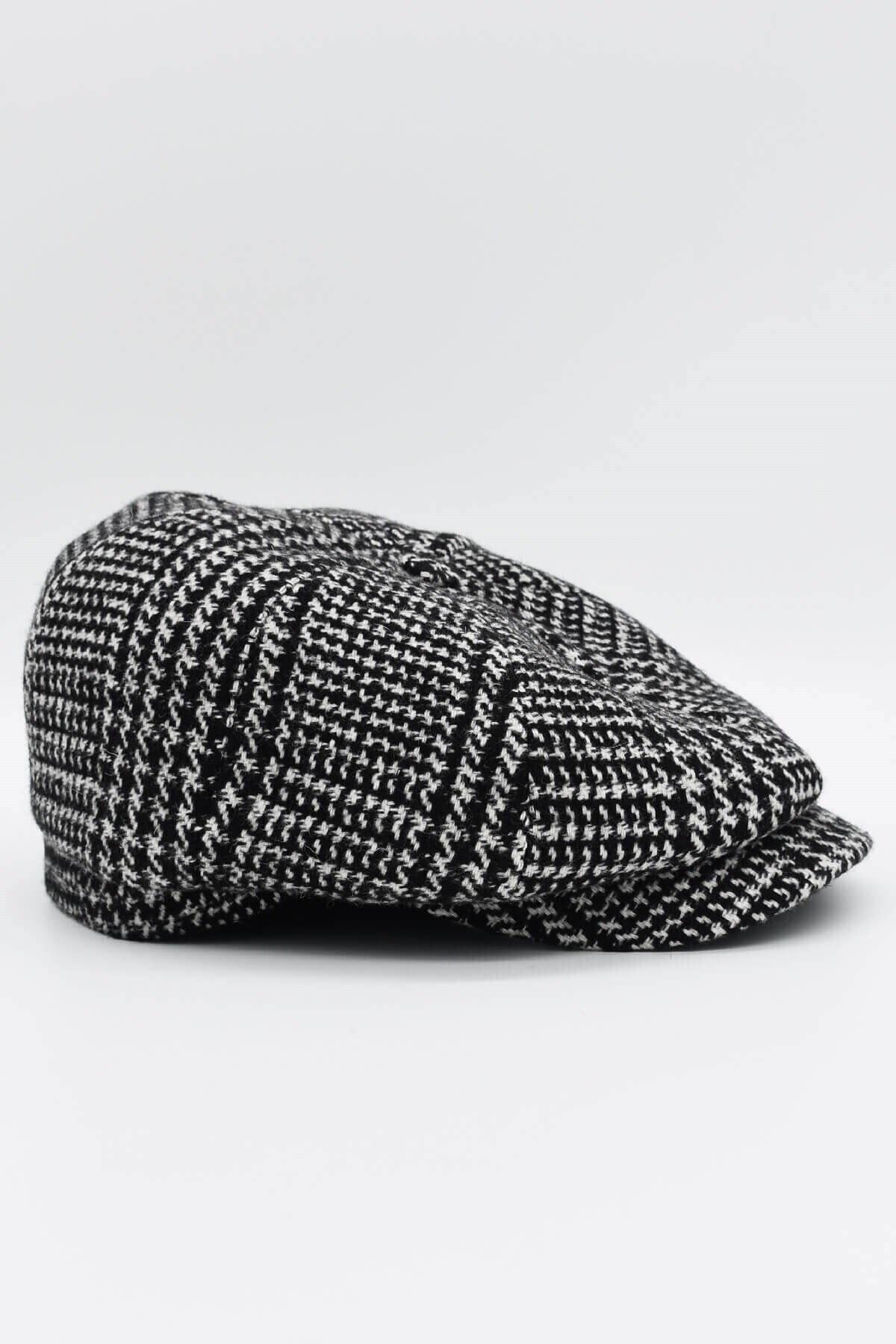 mercantoptan Erkek Siyah Ekoseli Yünlü Kasket Şapka 1