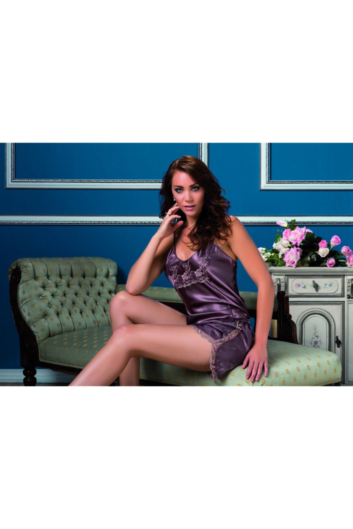 Karmen Kadın Mor Dantel Detaylı Saten Askılı Şortlu Pijama Takımı 1