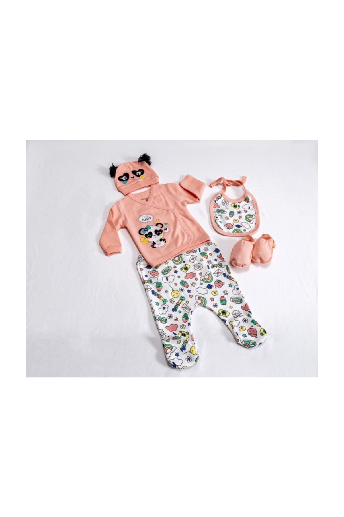 Eda Baby Kız Bebek Pembe Panda Hastane Çıkış Seti 1