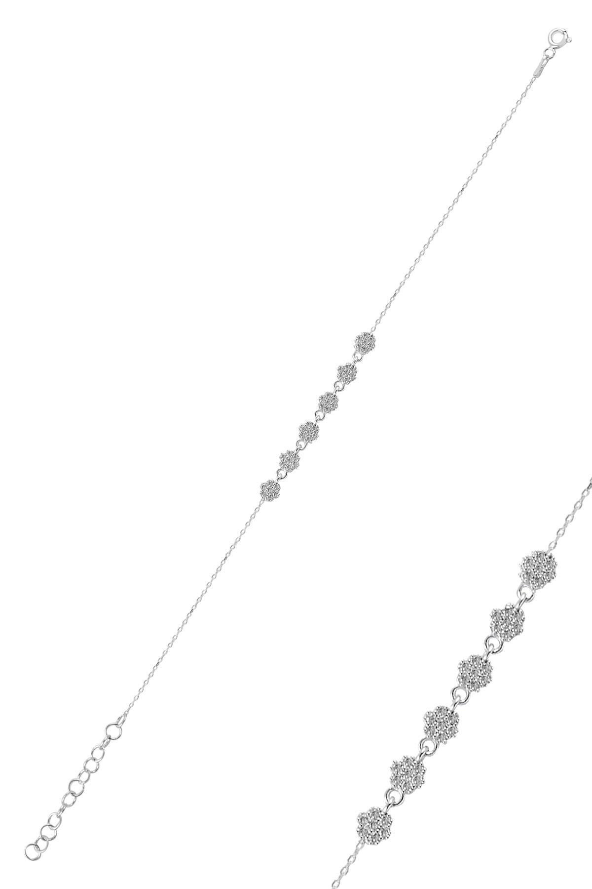 Söğütlü Silver Gümüş Rodyumlu Zirkon Taşlı Çiçek Bileklik