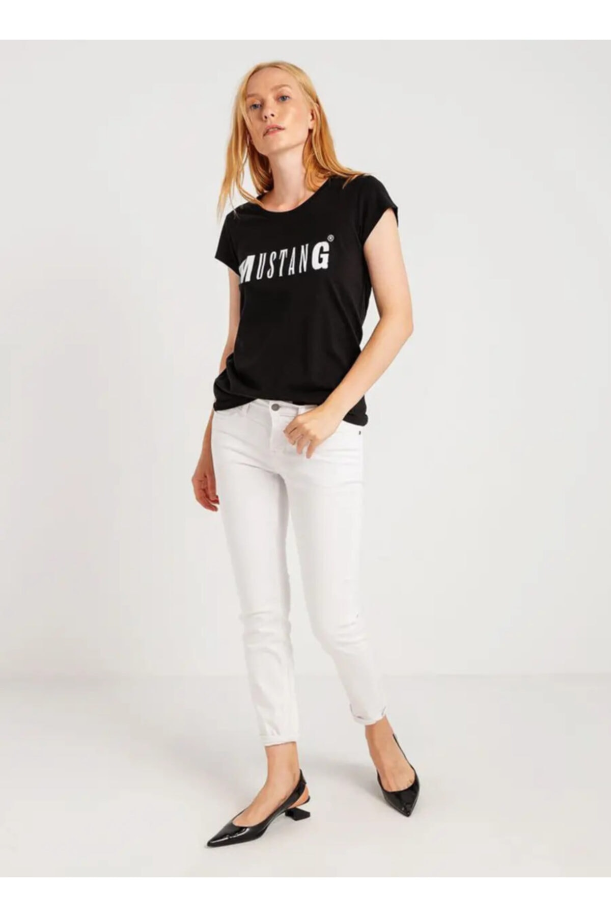 Mustang Kadın Logo Baskılı Tshirt 1