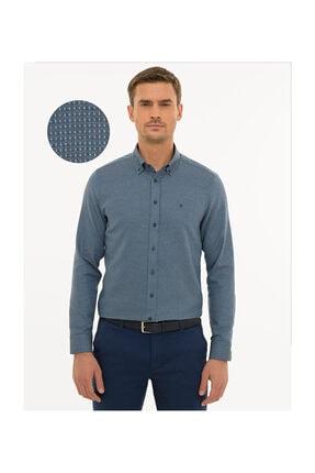 Pierre Cardin Erkek Lacivert Slim Fit Gömlek