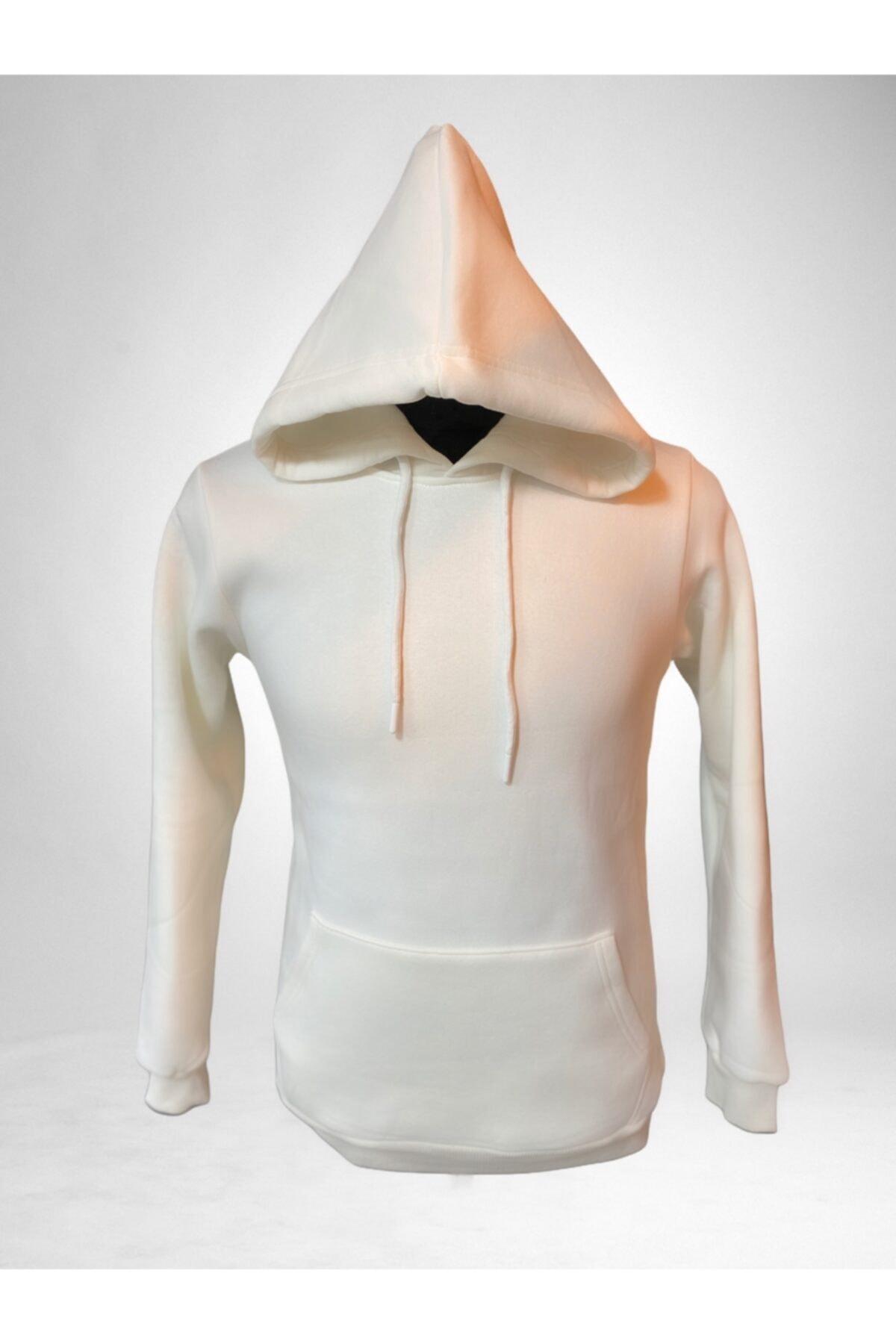 boypos Unisex Beyaz Kapüşonlu Içi Yünlü Sweatshirt 1