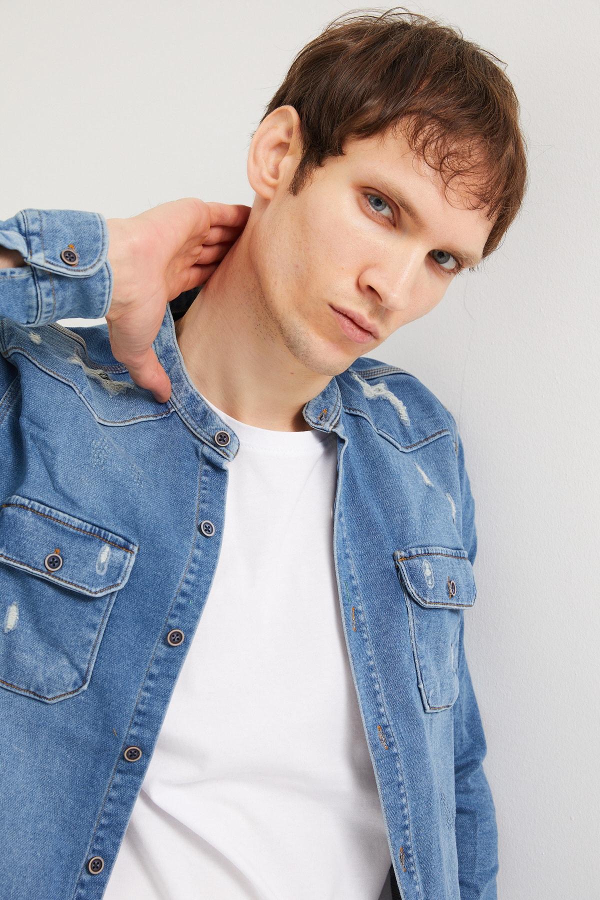 BACKMAN Erkek Hakim Yaka Açık Mavi Slim Fit Kot Gömlek 1