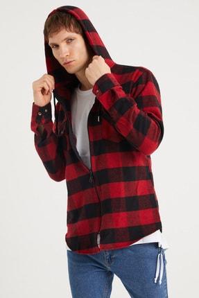 BACKMAN Erkek Kırmızı Siyah Fermuarlı Slim Fit Oduncu Gömlek