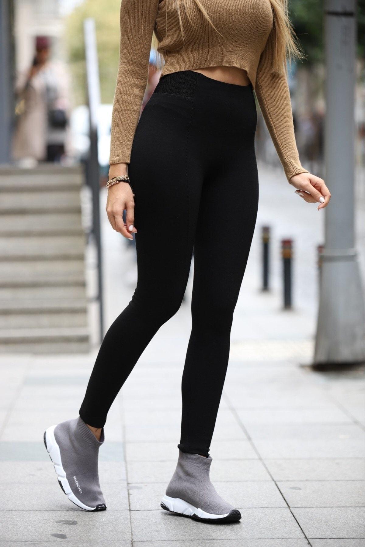 Grenj Fashion Siyah Kemerinde Geniş Lastik Detaylı Toparlayıcı Yüksek Bel Tayt 2