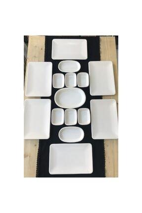 Keramika Kare 15 Parça 6 Kişilik Kahvaltı Ikram Seti Mat Krem