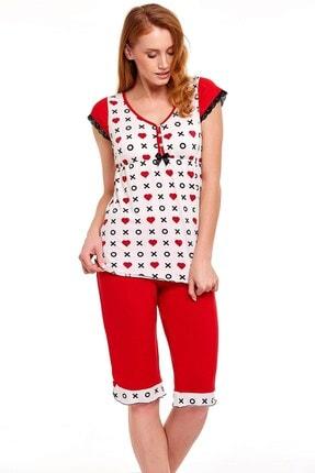 Lohusa Sepeti Kadın Kırmızı Kalp Desenli Kapri Lohusa Pijama Takımı 30704