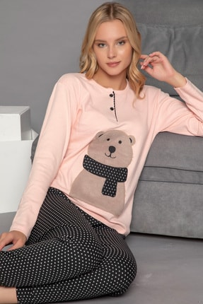 ELİTOL Kadın Pembe Pamuklu Interlok Pijama Takımı