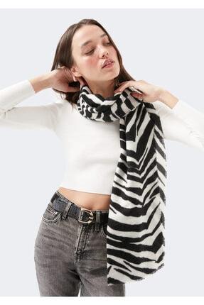 Mavi Kadın Siyah Zebra Desenli Şal