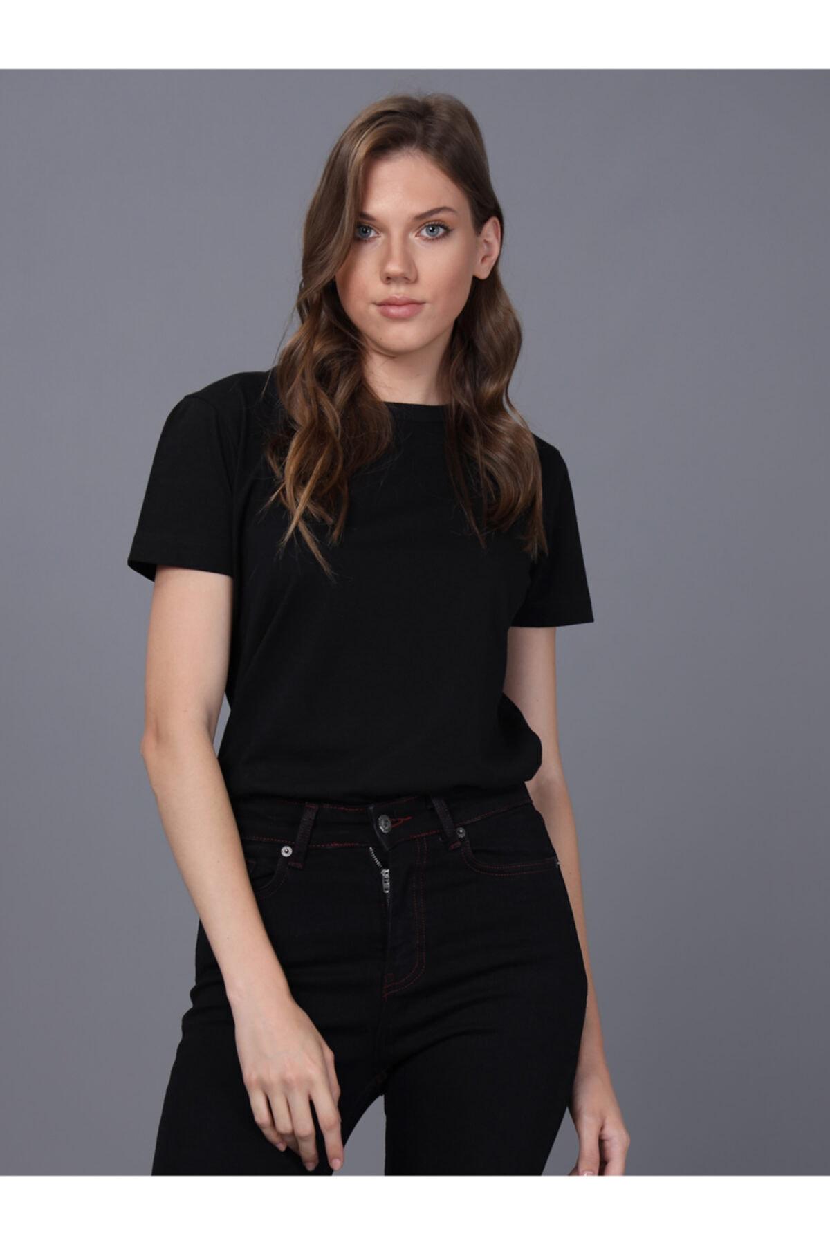 Basics&More Kadın Siyah Bisiklet Yaka T-shirt 2