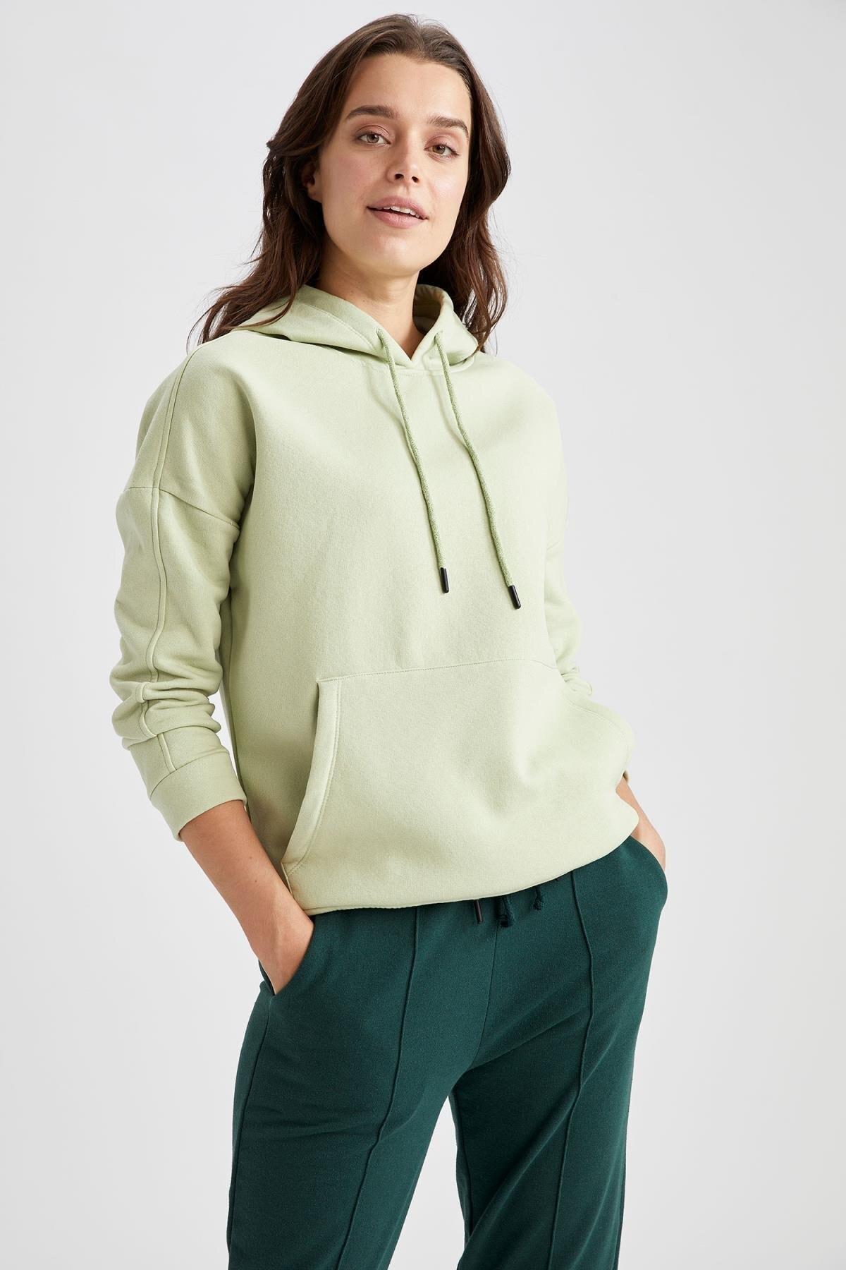 DeFacto Kadın Mint Kanguru Cepli Kapüşonlu Sweat Tunik T0165AZ20AU
