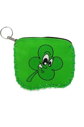 bimbambom Bozuk Para Çantası, Renkli Yeşil Yoncalı Çanta, Anahtarlık