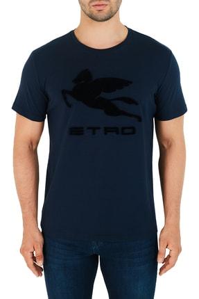 ETRO Erkek Lacivert Pamuklu Bisiklet Yaka T Shirt 1y020 7910 0200
