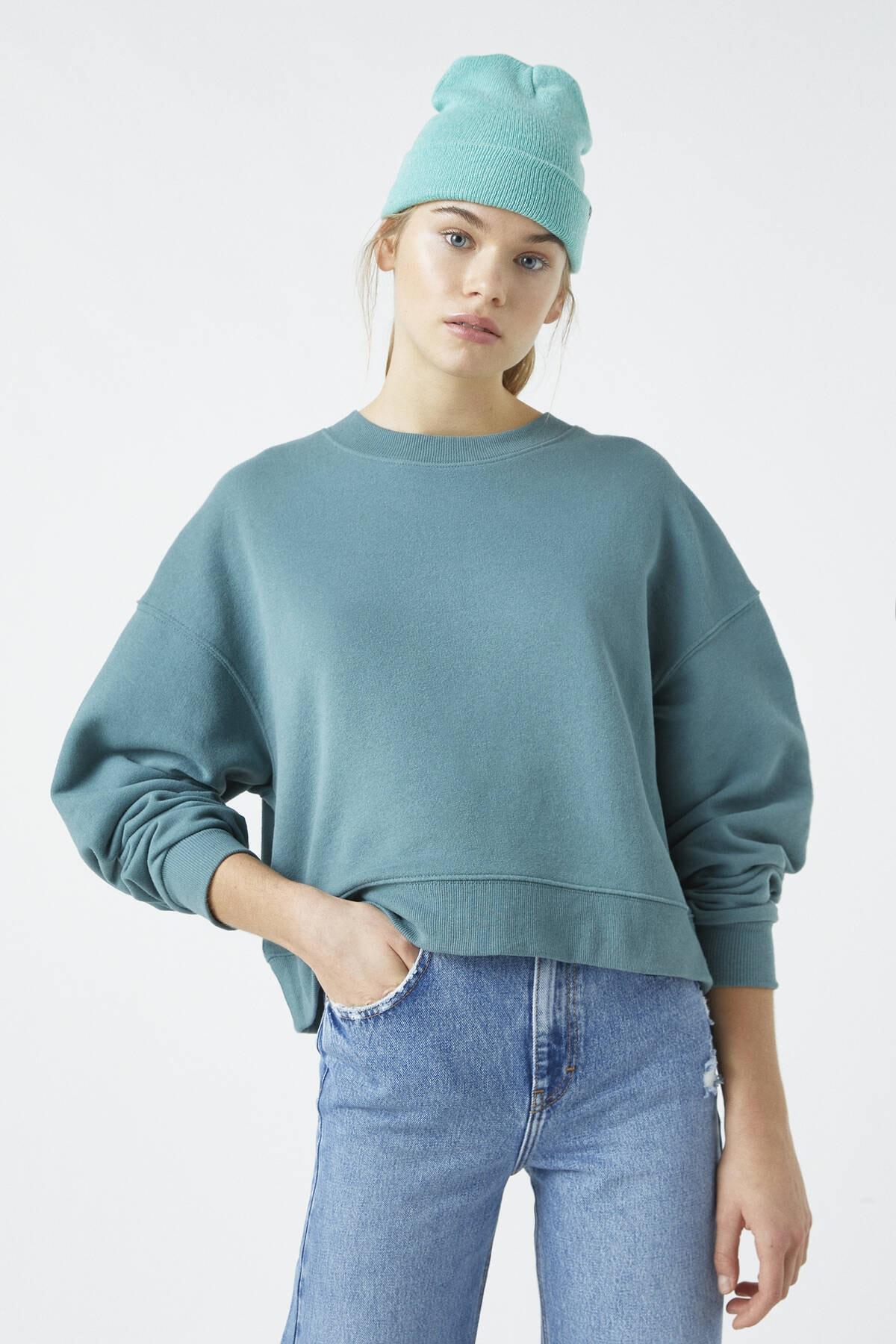 Pull & Bear Kadın Koyu Yeşil Bisiklet Yaka Basic Sweatshirt 04591315