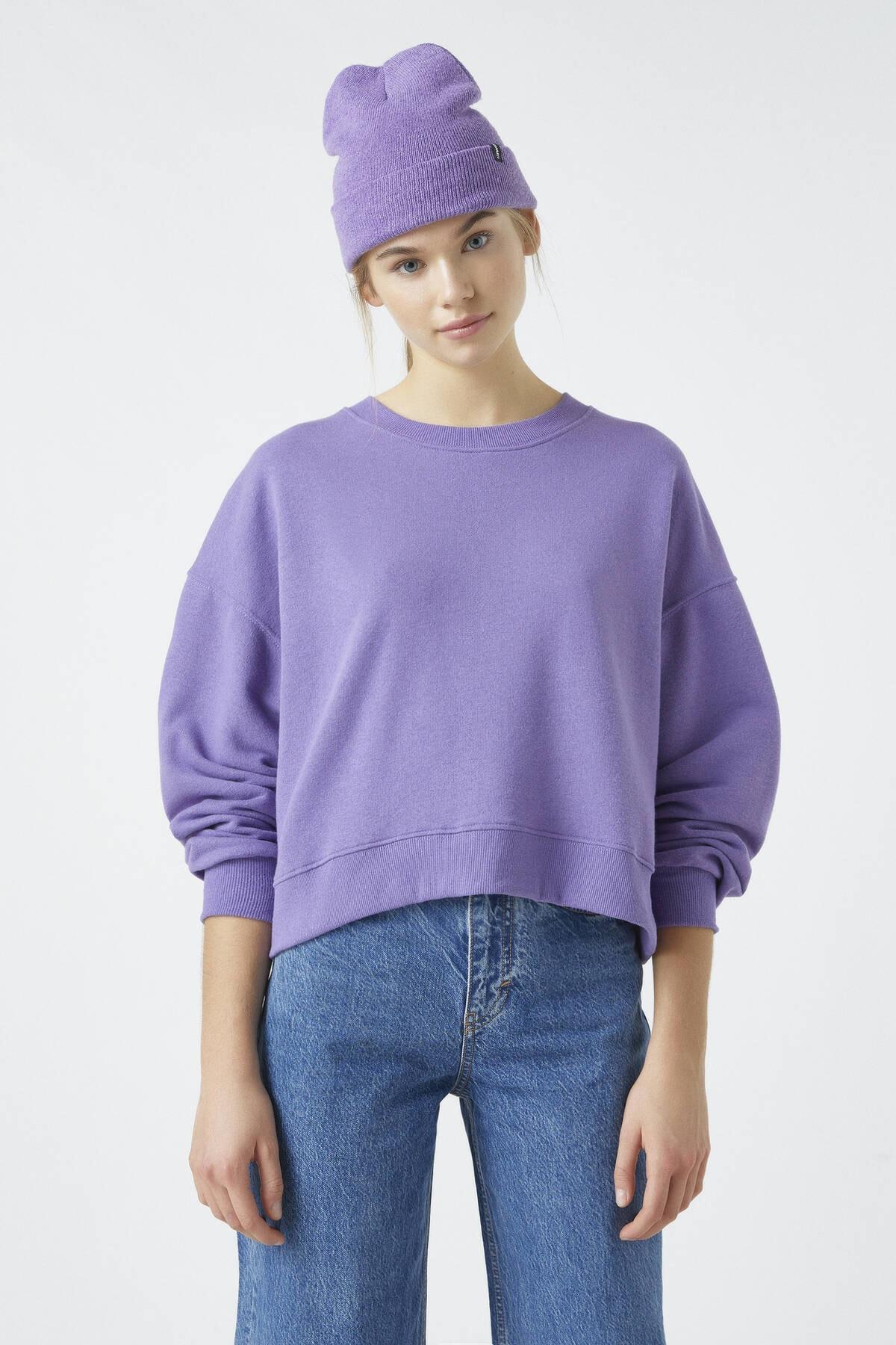 Pull & Bear Kadın Koyu Leylak Bisiklet Yaka Basic Sweatshirt 04591315