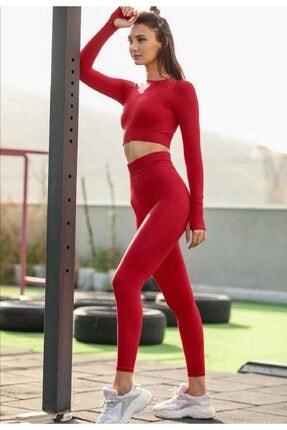 MAGZA Kadın Kırmızıı Extra Yüksek Bel Dikişsiz Spor Tayt Crop Ile Takım