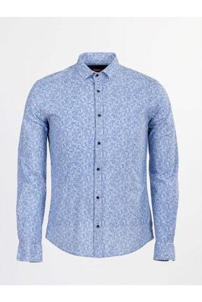 Mcr Erkek Beyaz Mavi Desenli Uzun Kol Gömlek