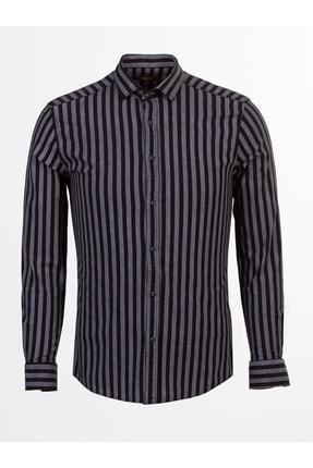 Mcr Erkek  Siyah Kalın Çizgili Pamuk Gömlek