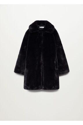 Mango Kız Çocuk Siyah Tüylü Palto