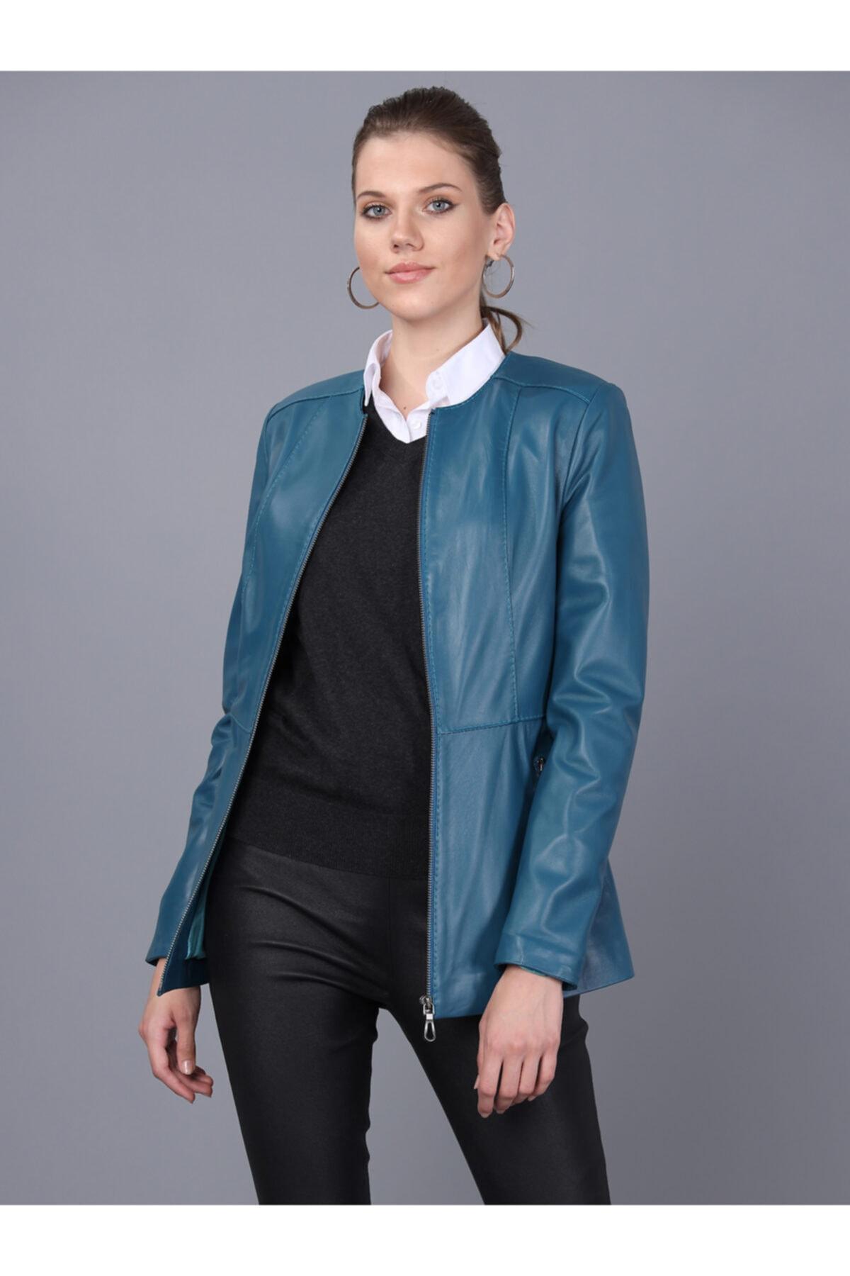 Basics&More Kadın Petrol Mavi Deri Ceket Bm03 1