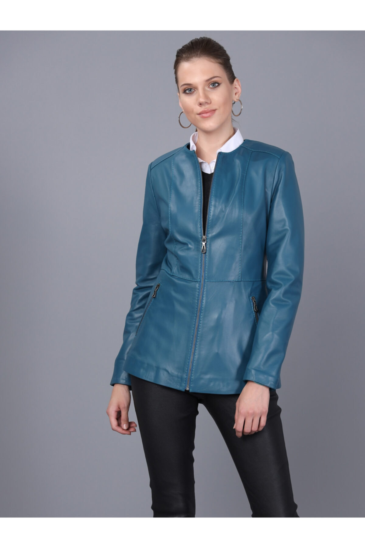 Basics&More Kadın Petrol Mavi Deri Ceket Bm03 2