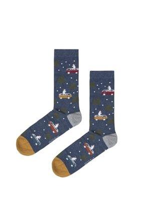 Bad Bear Space Lacivert Uzun Çorap