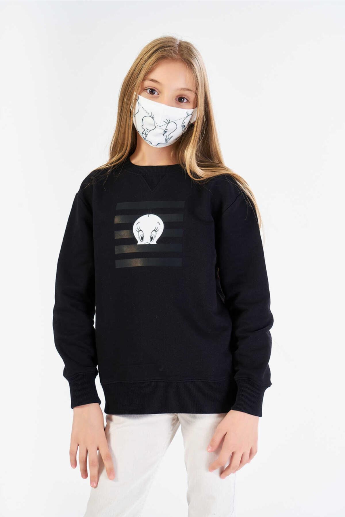 FINGER PRINT Kız Çocuk Siyah Lisanslı Tweety Baskılı Sweatshirt 1