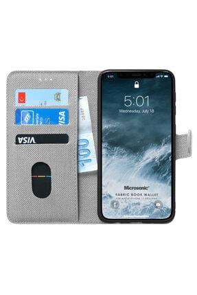 Apple Microsonic Iphone 11 Pro Max Kılıf Fabric Book Wallet Gri