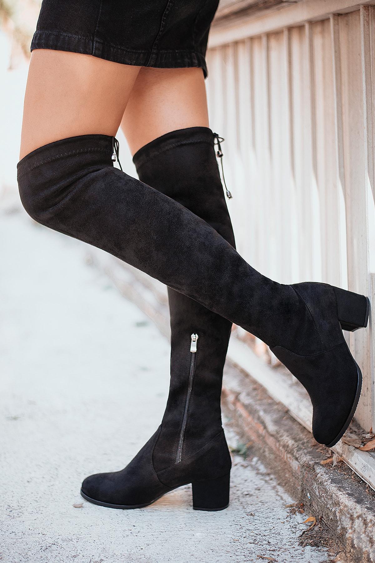 AYYA Kadın Siyah Uzun Çorap Çizme 1