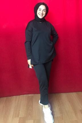 Alonza Butik Kadın Siyah Scuba Kumaş Eşofman Takım