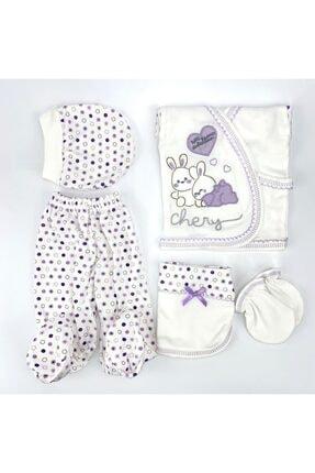 Bambino Yeni Doğan Bebek Lila Tavşanlı 5'li Hastane Çıkışı Seti