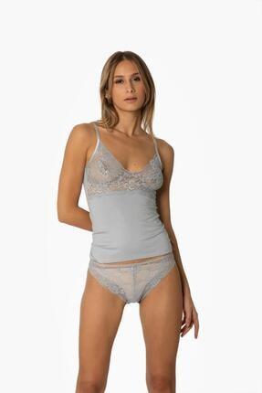Pierre Cardin Kadın Dantelli Penye Atlet Külot / Kaşkorse Set - 315 Mist