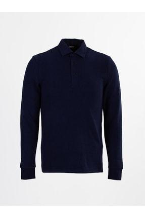 Mcr Erkek Lacivert Polo Yaka Düğmeli Uzul Kol Selanik Penye T-Shirt