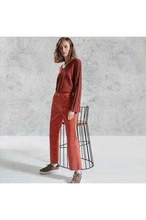 Yargıcı Kadın Kiremit Kemer Detaylı Denim Pantolon
