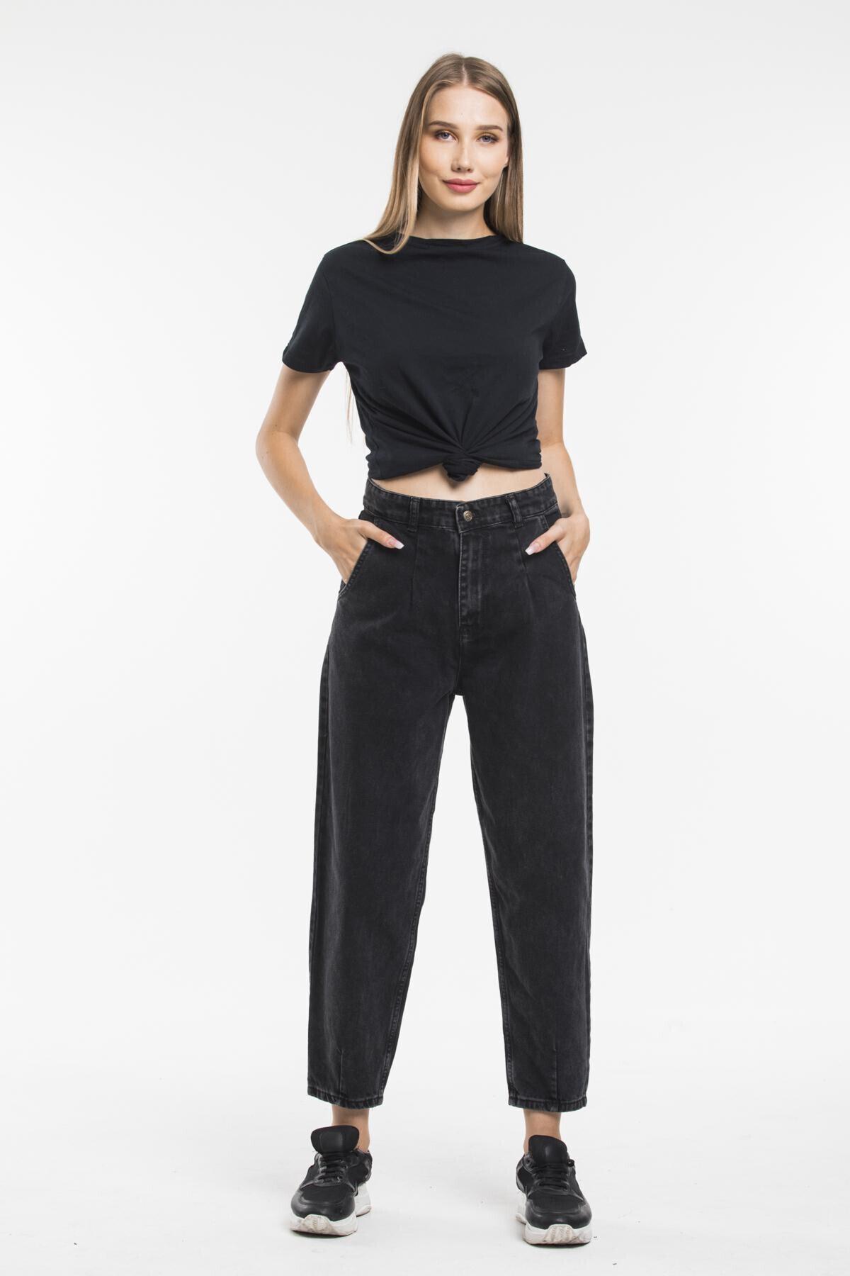 sarıbalon Siyah Pilili Yüksek Bel Ballon Jeans 1