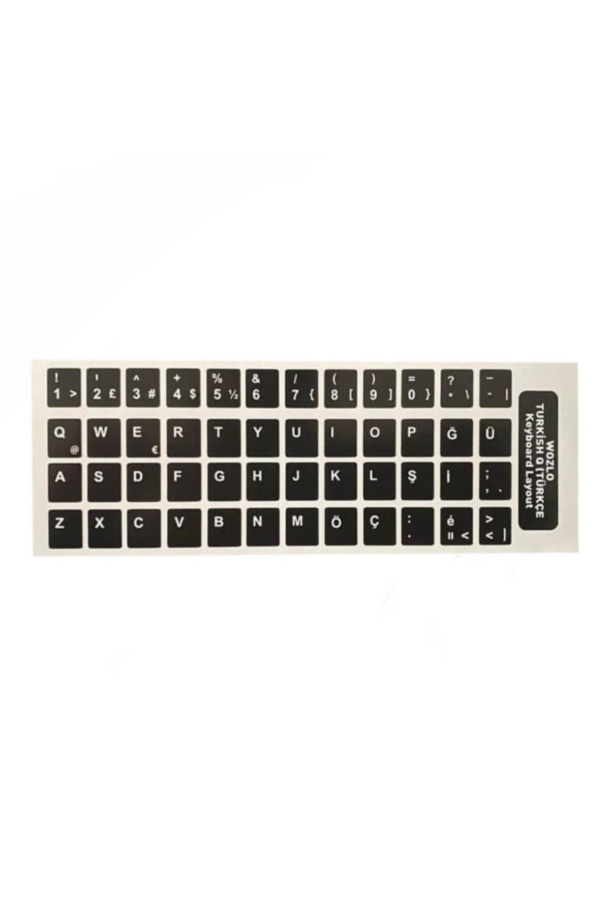 WOZLO Türkçe Siyah Q Klavye Etiketi - Laptop Pc Sticker 1
