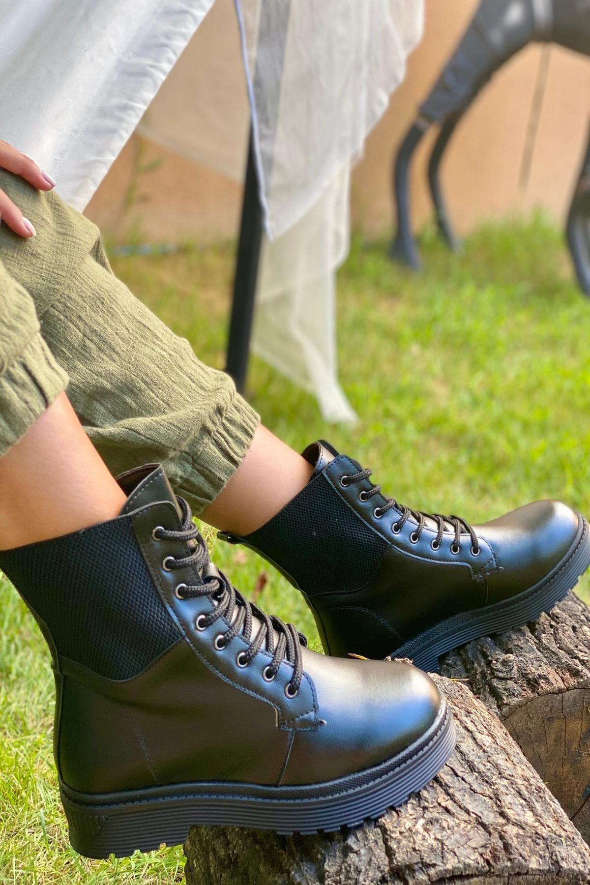 İnan Ayakkabı KADIN LASTİKLİ SİYAH  BOT&BOOTİE&POSTAL KY7000 1