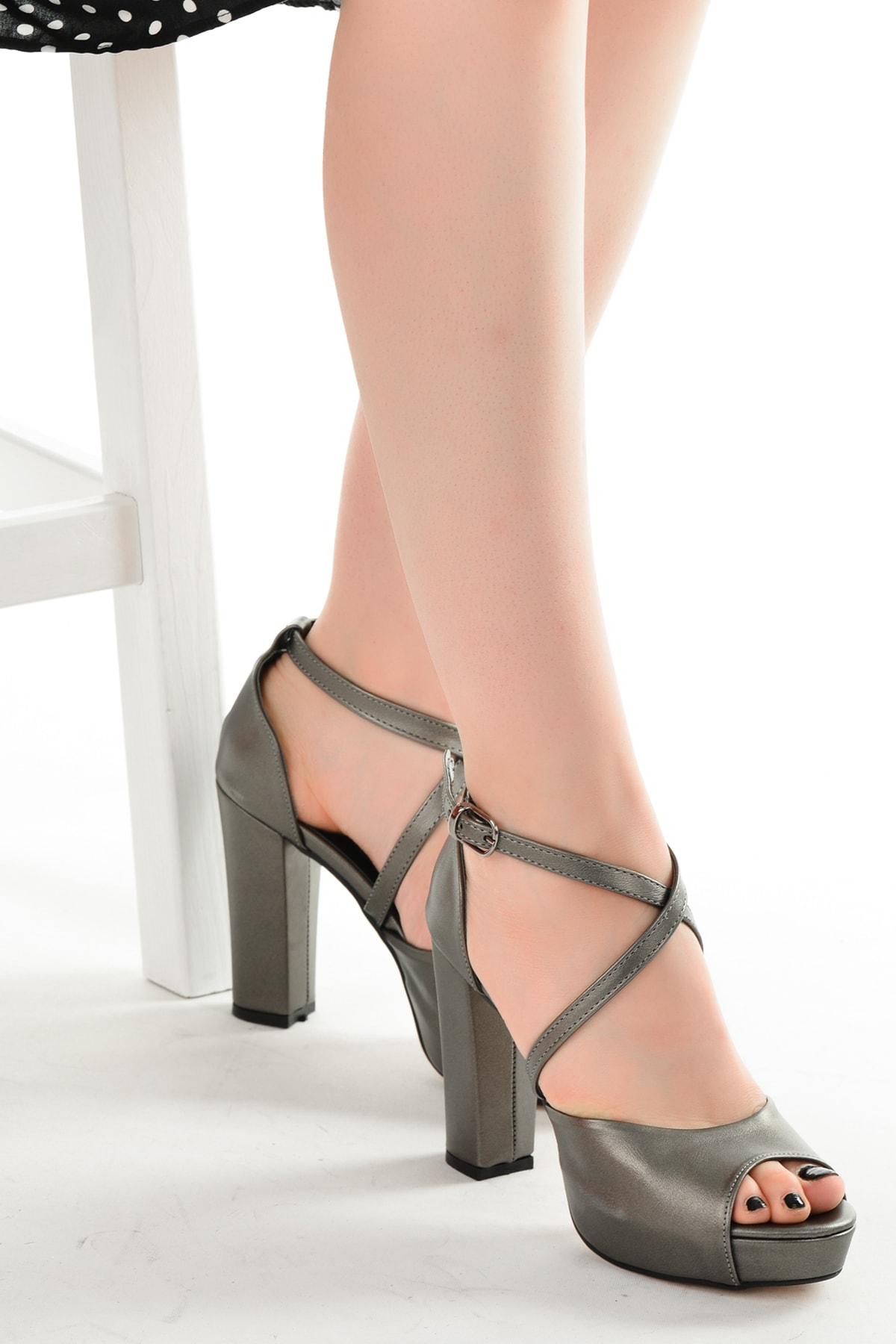 Ayakland Kadın Platin Platform Topuklu Ayakkabı 11 cm 3210-2058 1